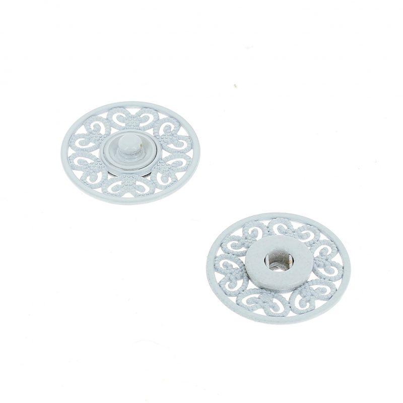 Bottoni Automatici in metallo Mod.53823 Smaltato Bianco lin.36 e 44