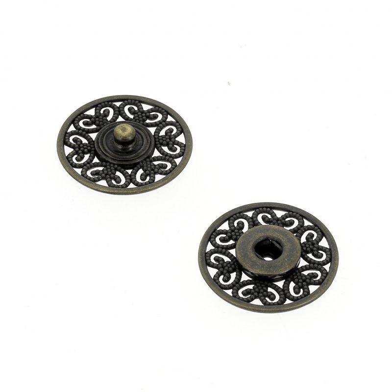 Bottoni Automatici in metallo Mod.53823 Ottone Vecchio lin.36 e 44