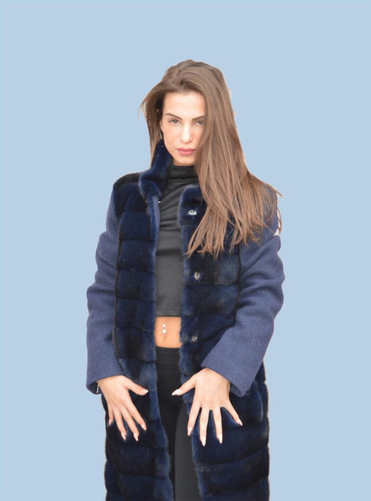 Cappotto lana con davanti in pelo mod. L04